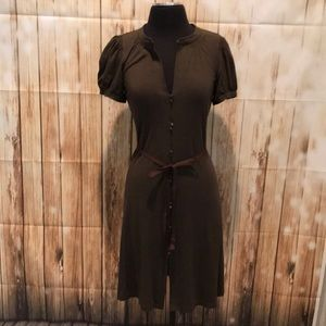 THEORY brown cotton jersey knit button front dress